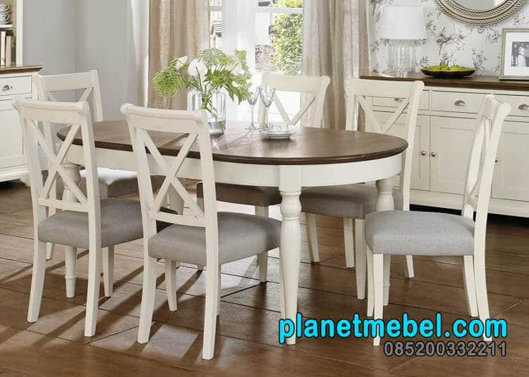 Meja Makan Putih Type Virenza, Meja Makan Putih, Meja Makan 6 Kursi, Meja Makan Murah