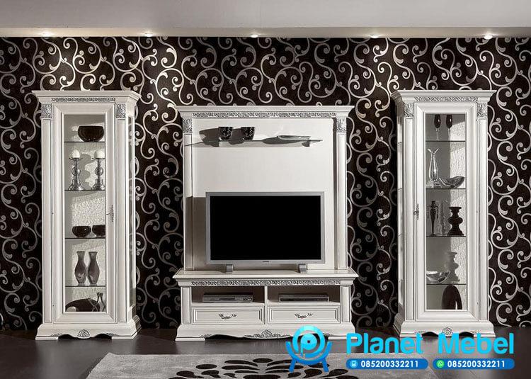 Lemari Tv Kayu Duco Putih Vivaldi, Bufet Tv Klasik, Bufet Tv Putih