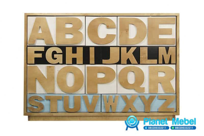 Bufet Alfabet ABC Minimalis, Bufet ABC, Bufet Huruf ABC