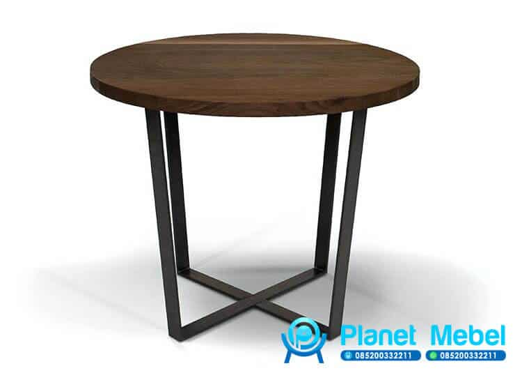Meja Cafe Bulat Kayu Kaki Besi Industrial Furniture Planet Mebel Jepara