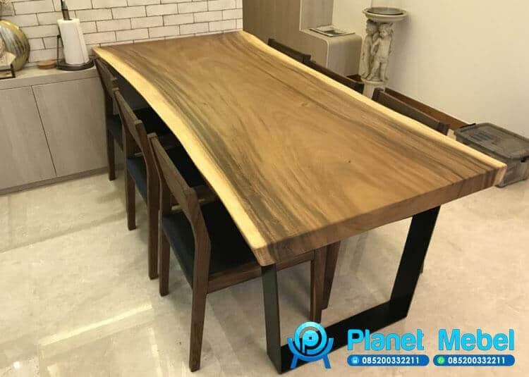 Meja Makan Kayu Trembesi Solid Minimalis, Suar Dining Table. Suar Dining Set
