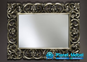 Pigura Cermin Ukir Silver