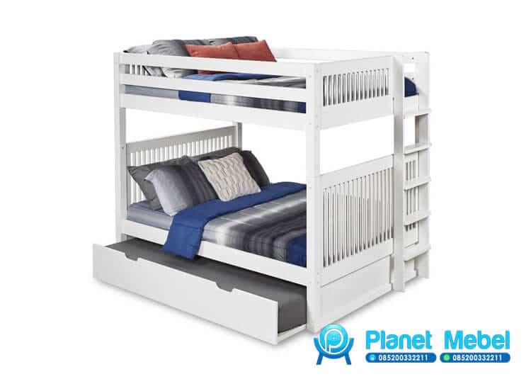Tempat Tidur Tingkat Anak Minimalis Duco Putih, Tempat Tidur Tingkat, Tempat Tidur Tingkat Minimalis, Tempat Tidur Tingkat Murah