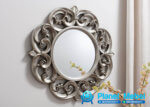 Pigura Cermin Bulat Silver Ukir Jepara