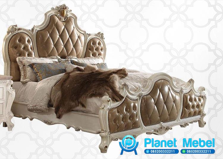 Tempat Tidur Mewah Klasik Modern Ukiran Jepara Warna Putih