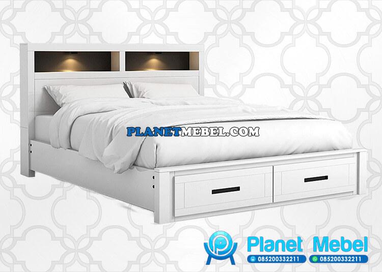 Tempat Tidur Minimalis Modern Mewah Warna Putih Terbaru