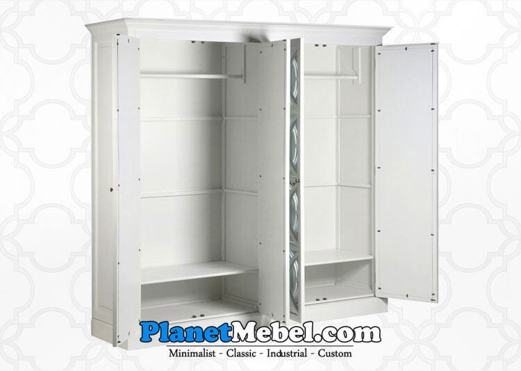 Lemari Pakaian Minimalis 4 Pintu Warna Putih