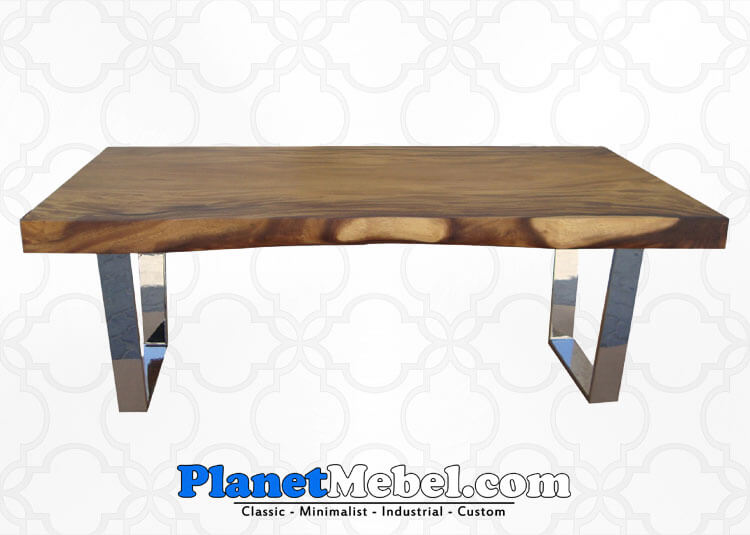 Meja Makan Trembesi Dengan Kaki Stainless