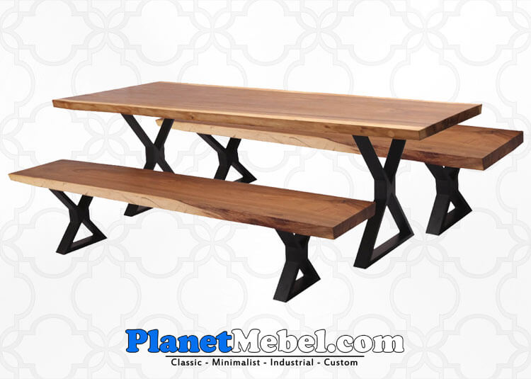 Suar Wood Dining Table With Iron